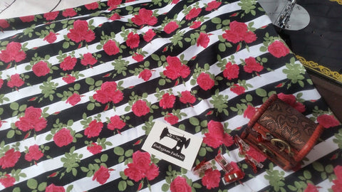 Roses on Black White Stripes - cotton lycra - 170cm wide