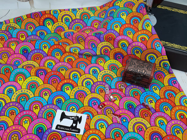 Rainbow Trip - cotton lycra - 150cm wide