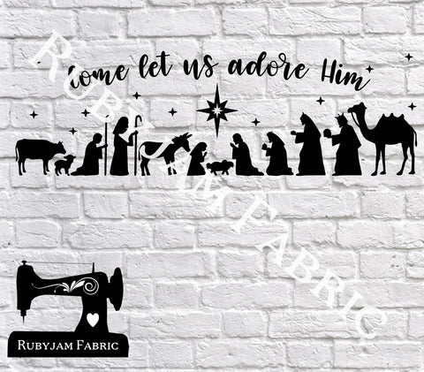 Christmas Come Let Us Adore Him - Cutting File - SVG/JPG/PNG