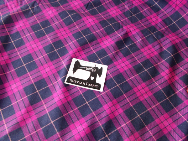Pink Navy Tartan Cotton Lycra - 150cm wide