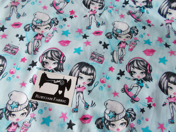 Tween Girl Blue - cotton lycra - 150cm wide