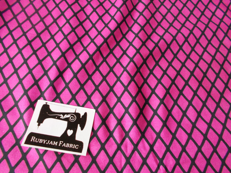Pink Diamonds Cotton Lycra - 150cm wide - clearance
