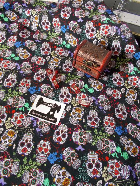 Day of the Dead - Candy Skulls - cotton lycra - 150cm wide - clearance