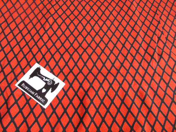 Red Diamonds Cotton Lycra - 150cm wide - clearance