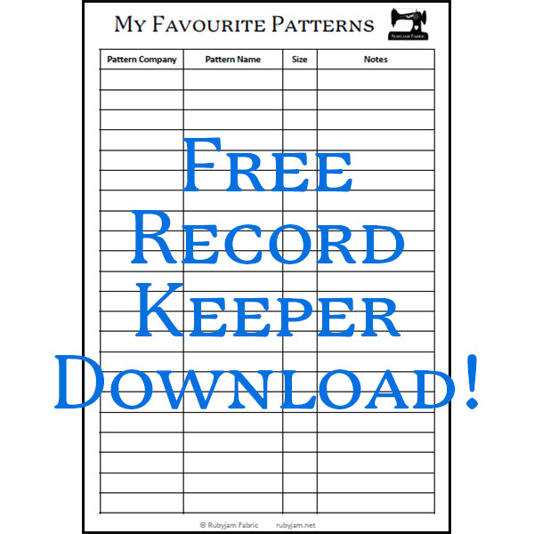 Rubyjam Fabric - Favourite Pattern Record Keeper