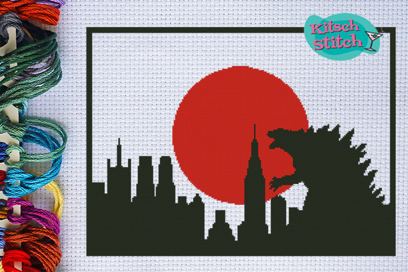 Godzilla Attacks - Cross Stitch Pattern - Kitsch Stitch Studio