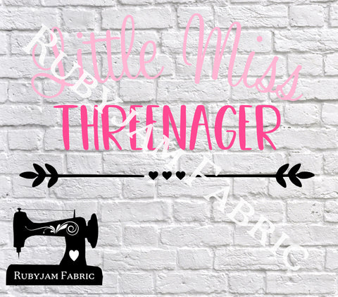 Little Miss Threenager - Cutting File - SVG/JPG/PNG