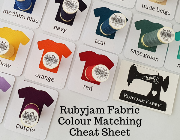 Rubyjam Fabric - Colour Matching Cheat Sheet