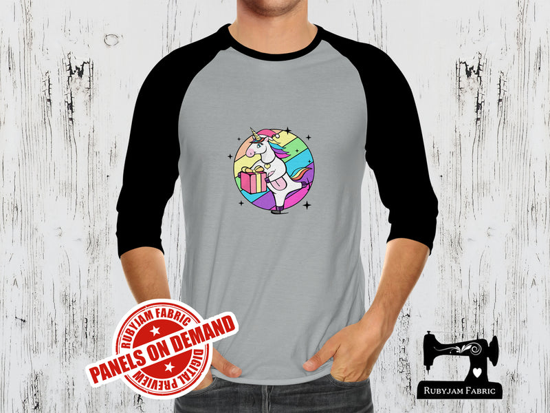 Christmas Skating Unicorn - HEATHER GREY - Panels On Demand