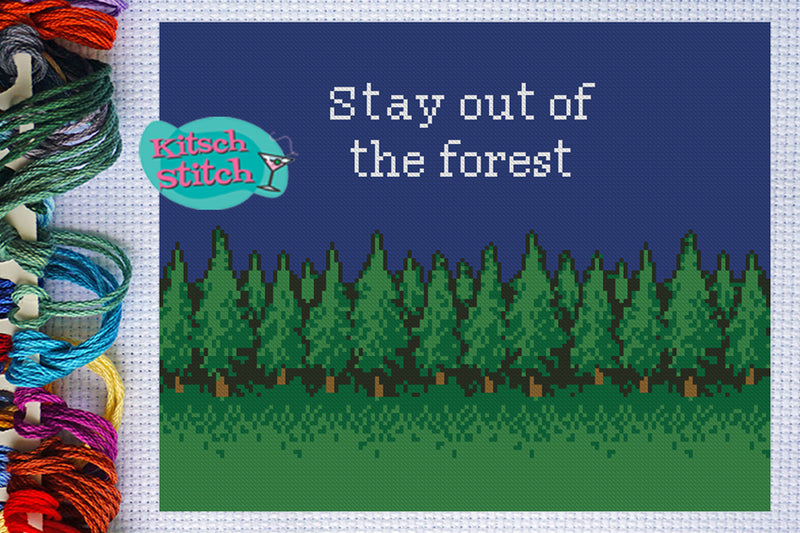 Stay Out Of The Forest - Cross Stitch Pattern - Kitsch Stitch Studio
