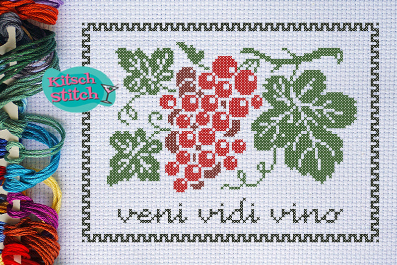 Veni Vidi Vino - Cross Stitch Pattern - Kitsch Stitch Studio