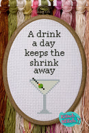 A Drink A Day Keeps The Shrink Away - Cross Stitch Pattern - Kitsch Stitch Studio