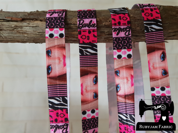 "1M Barbie Doll - Printed - 5/8"" (16mm) - Fold Over Elastic (FOE)"