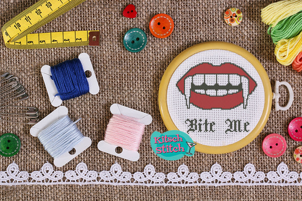 Bite Me - Cross Stitch Pattern - Kitsch Stitch Studio