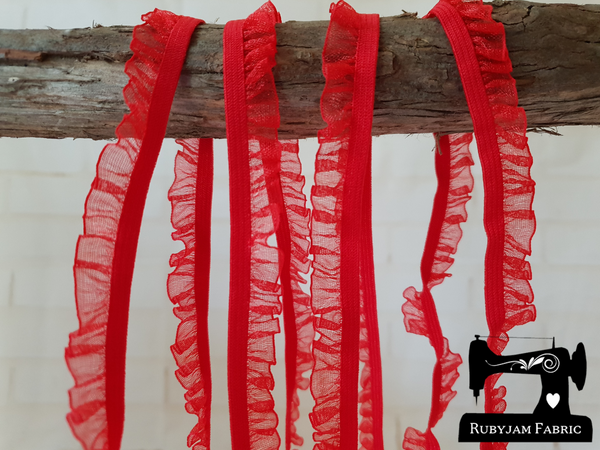 1M BRIGHT RED Decorative Elastic Ruffle Trim (Approx 10mm wide)