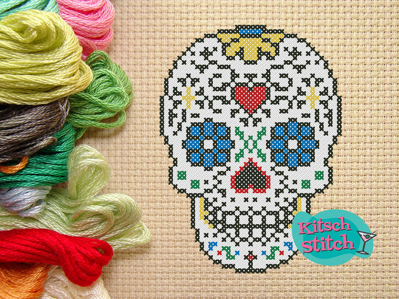 Candy Skull - Cross Stitch Pattern - Kitsch Stitch Studio