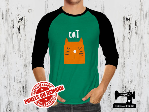Orange Cat + Cat Butt (Two Panel Set) - GREEN - Panels On Demand