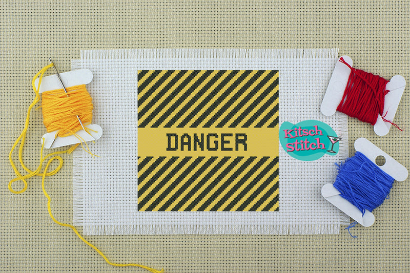Danger - Cross Stitch Pattern - Kitsch Stitch Studio