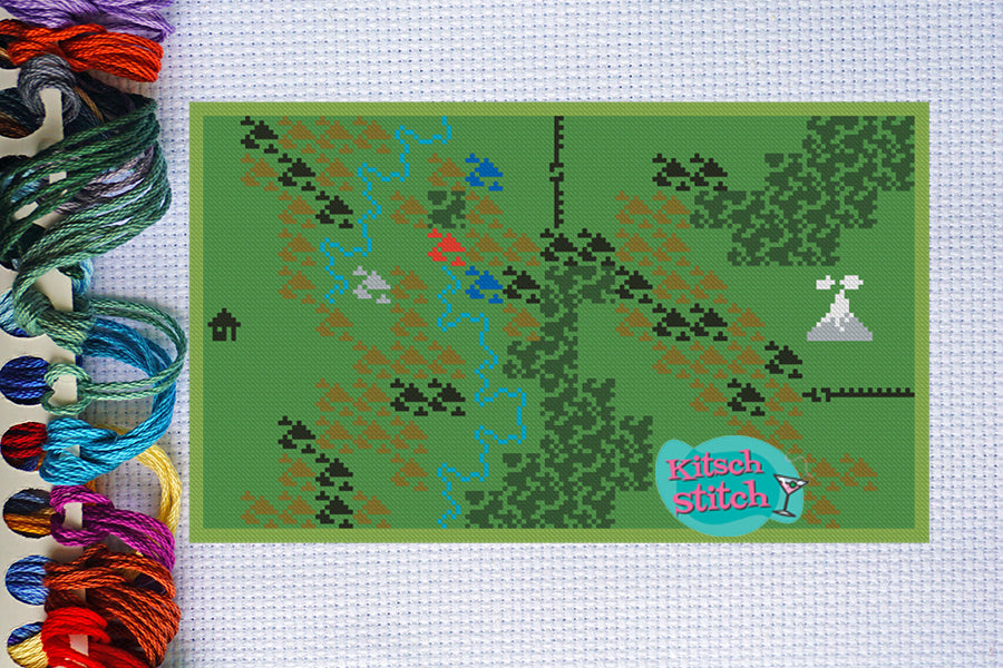 Dungeons And Dragons Map - Intellivision - Cross Stitch Pattern - Kitsch Stitch Studio