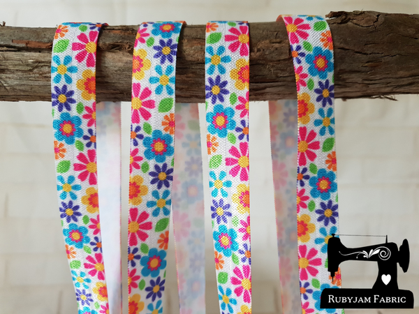 "1M Daisy Bright - Printed - 5/8"" (16mm) - Fold Over Elastic (FOE)"
