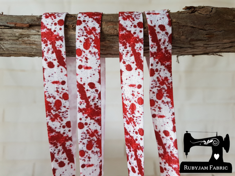 "1M Blood Splatter - Printed - 5/8"" (16mm) - Fold Over Elastic (FOE)"