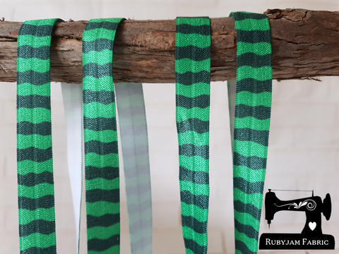"1M Green Waves - Printed - 5/8"" (16mm) - Fold Over Elastic (FOE)"