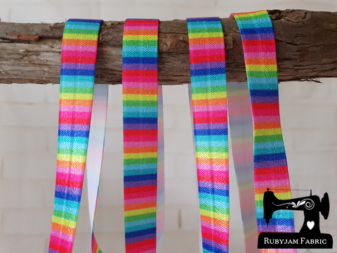"1M Rainbow Stripes Bright - Printed - 5/8"" (16mm) - Fold Over Elastic (FOE)"