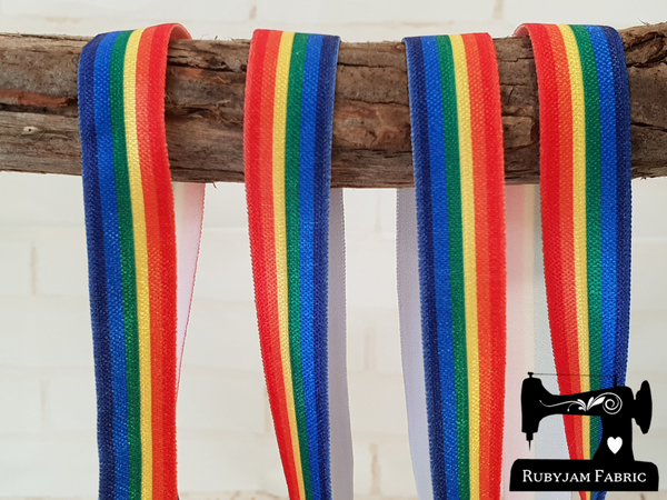 "1M Horizontal Rainbow Stripes - Printed - 5/8"" (16mm) - Fold Over Elastic (FOE)"