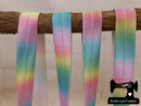 "1M Pastel Rainbow Ombre - Printed - 1"" (25mm) - Fold Over Elastic (FOE)"