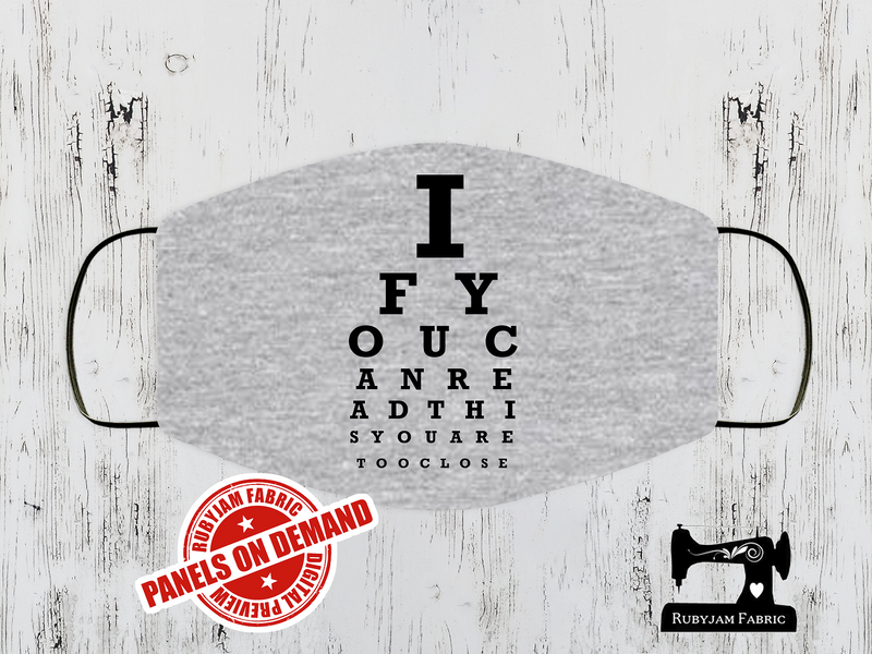 Eye Chart - Face Mask Panel - HEATHER GREY - Panels On Demand