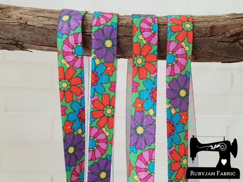 "1M Flower Power - Printed - 5/8"" (16mm) - Fold Over Elastic (FOE)"