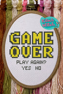 Game Over - Cross Stitch Pattern - Kitsch Stitch Studio