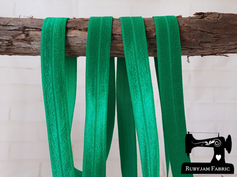 "1M Emerald Green - Solid - 5/8"" (16mm) - Fold Over Elastic (FOE)"