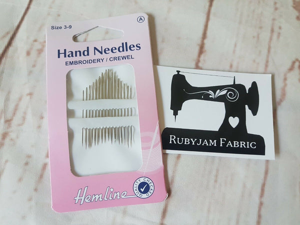 Hemline Embroidery/Crewel Hand Sewing Needles, Sizes 3 - 9, 16 Pack