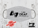 I Am Deaf - Face Mask Panel - HEATHER GREY - Panels On Demand