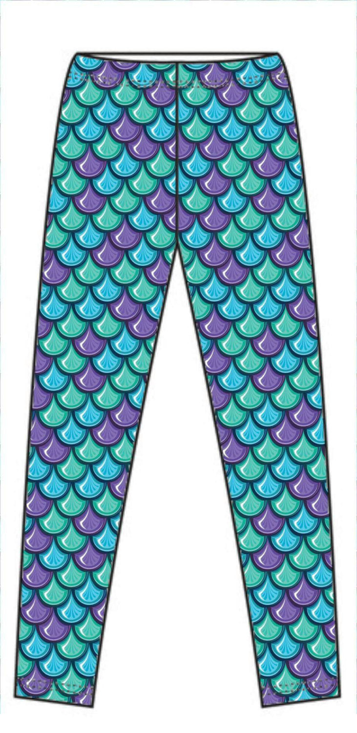 Purple Green Mermaid Scales - SWIM KNIT - 150cm wide