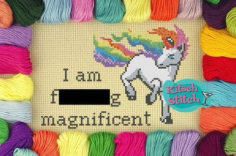 I Am F***ing Magnificent - Cross Stitch Pattern - Kitsch Stitch Studio