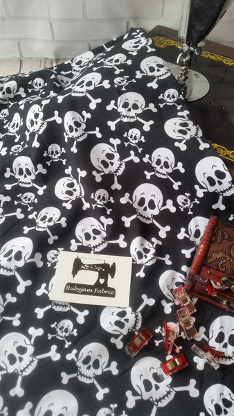Skull and Crossbones - cotton lycra - 170cm wide