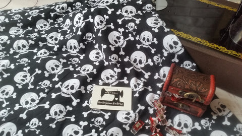 Skull print cotton lycra 4 way stretch knit fabric