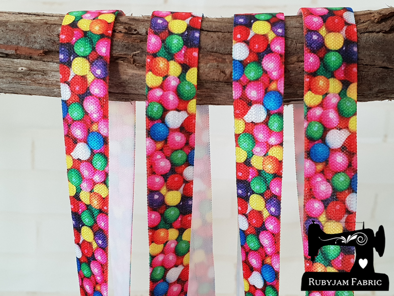 "1M Jelly Beans - Printed - 5/8"" (16mm) - Fold Over Elastic (FOE)"