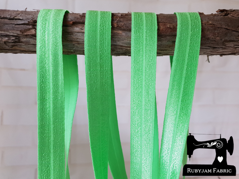 "1M Lime Green - Solid - 5/8"" (16mm) - Fold Over Elastic (FOE)"