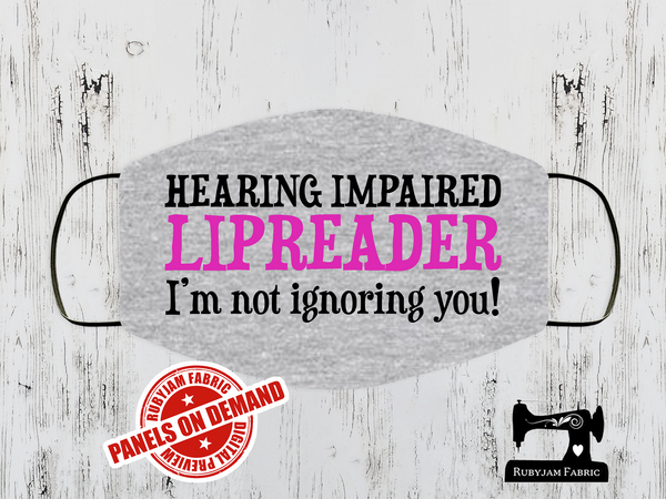 Hearing Impaired Pink Face Mask Panel - HEATHER GREY - Panels On Demand