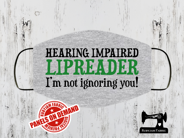 Hearing Impaired Green Face Mask Panel - HEATHER GREY - Panels On Demand