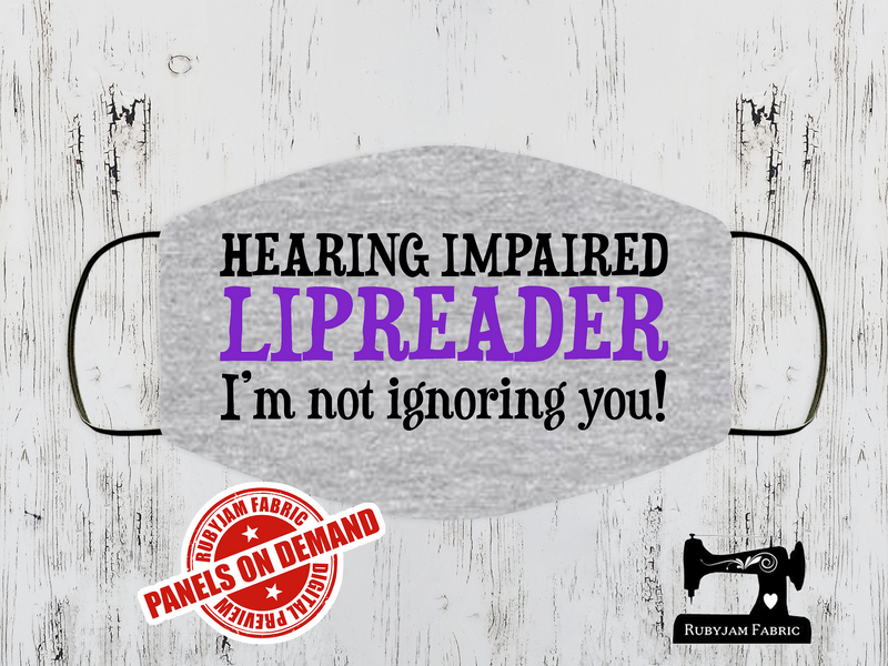 Hearing Impaired Purple Face Mask Panel - HEATHER GREY - Panels On Demand