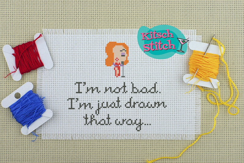 Jessica Rabbit - I'm Not Bad, I'm Just Drawn That Way - Cross Stitch Pattern - Kitsch Stitch Studio