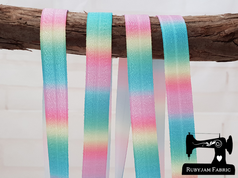 "1M Pastel Rainbow Ombre - Printed - 5/8"" (16mm) - Fold Over Elastic (FOE)"