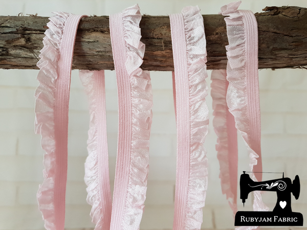 1M LIGHT PINK Decorative Elastic Ruffle Trim (Approx 15mm wide)