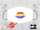Pride Rainbow Lips Face Mask Panel - WHITE - Panels On Demand