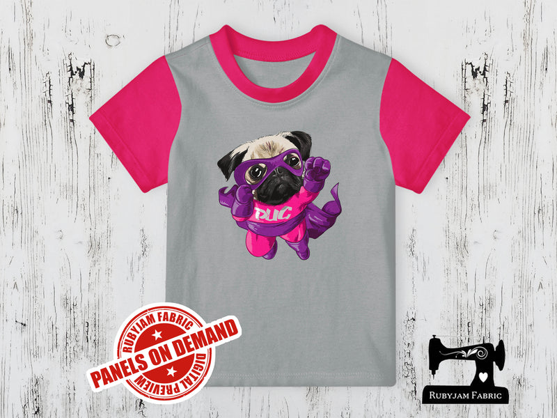 Pink/Purple Super Pug - HEATHER GREY - Panels On Demand