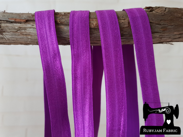 "1M Purple - Solid - 5/8"" (16mm) - Fold Over Elastic (FOE)"